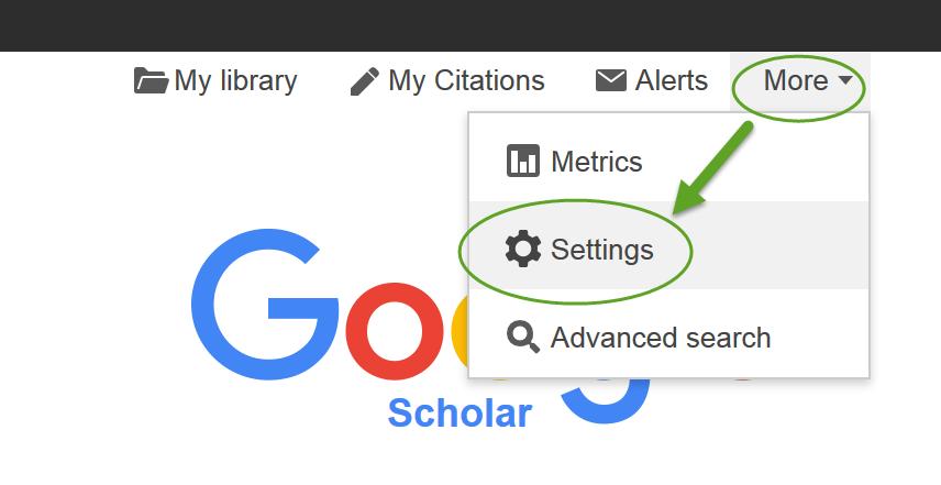 The wider world using google scholar midwifery libguides at screenshot google scholar indicating settings option stopboris Choice Image