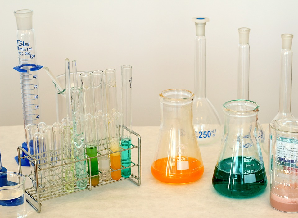 image of various lab beakers and containers