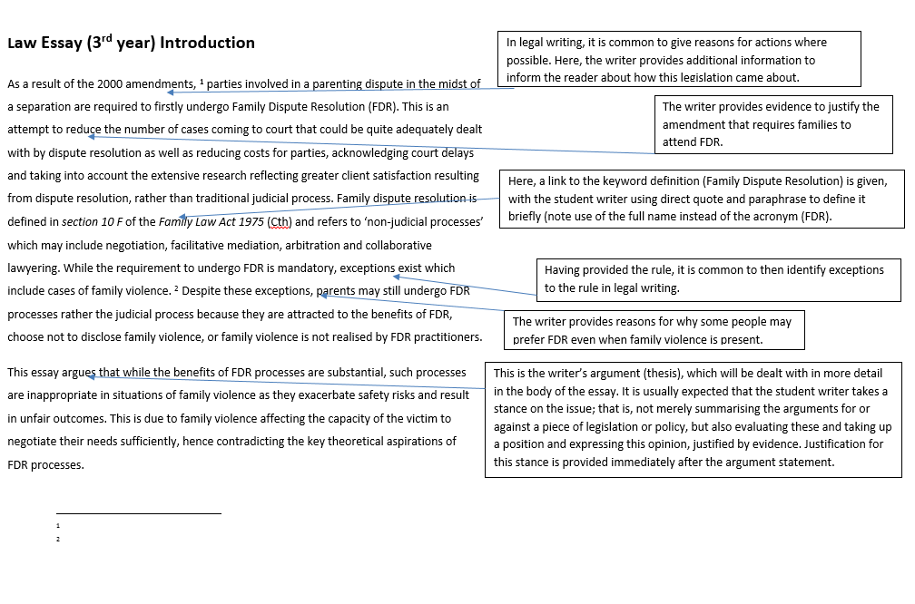 law   writing   libguides at la trobe university here is a sample introduction from a law essay with annotations to indicate why the writer has included each section