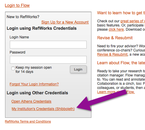 refworks login page
