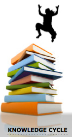 graphic jumping over books