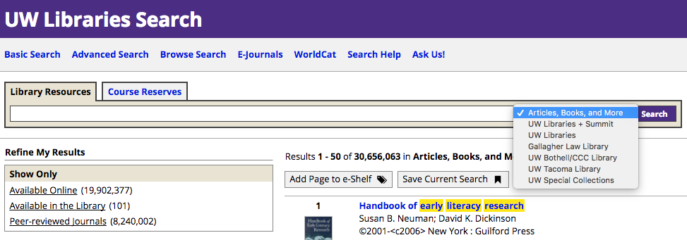 "Libraries/Collection Locations under ""Articles, Books, and More"" in UW Libraries Search"