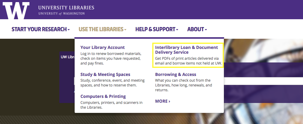 "Two columns of links from the second dropdown menu, ""Use the Libraries"". The top right link is highlighted: ""Interlibrary Loan & Document Delivery Service."""