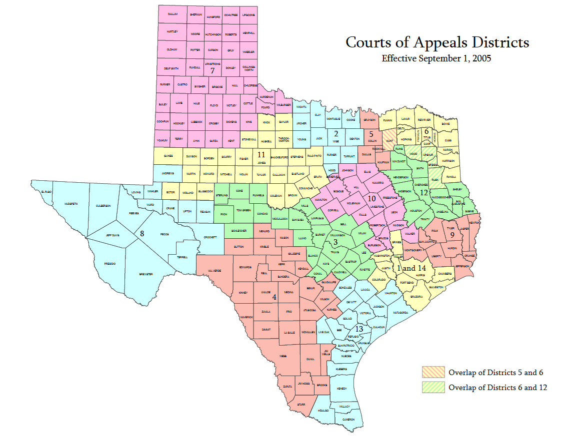 Maps Texas Courts Generally Texas Courts And Court Rules - How do us court circuits map