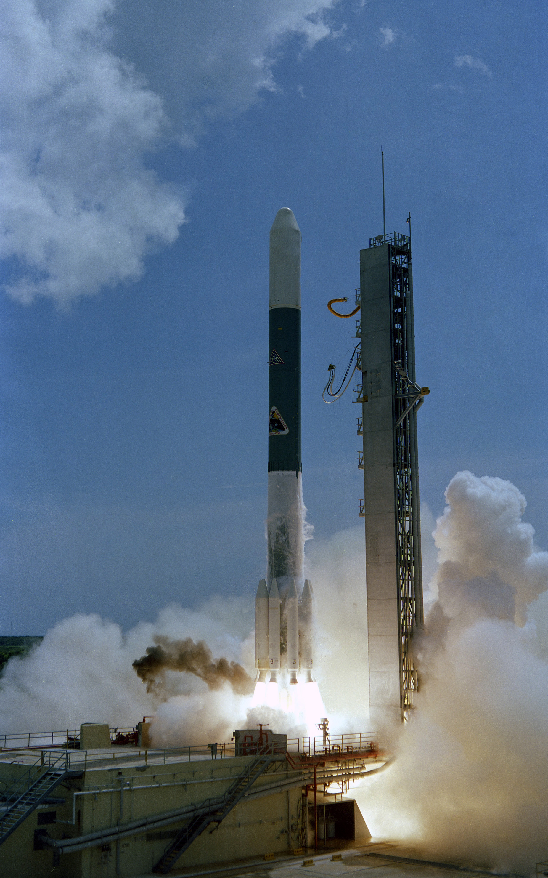 A Delta 144 launch vehicle carrying the NASA/European Space Agency International Sun-Earth Explorer (ISEE) 3 satellite lifts off from the launch pad