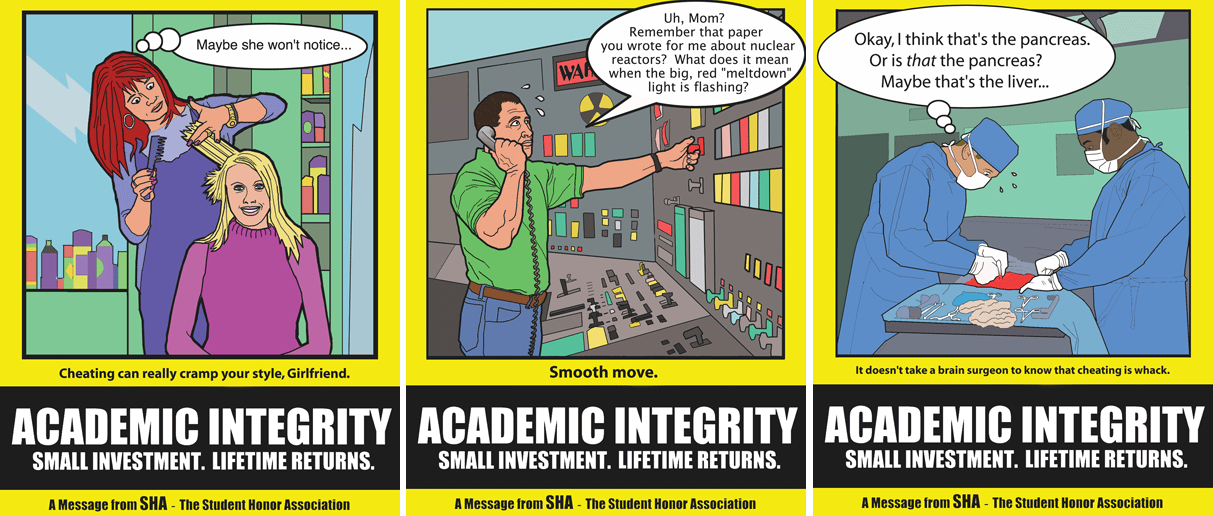 Academic integrity comic strip showing career failures from employees who cheated in school