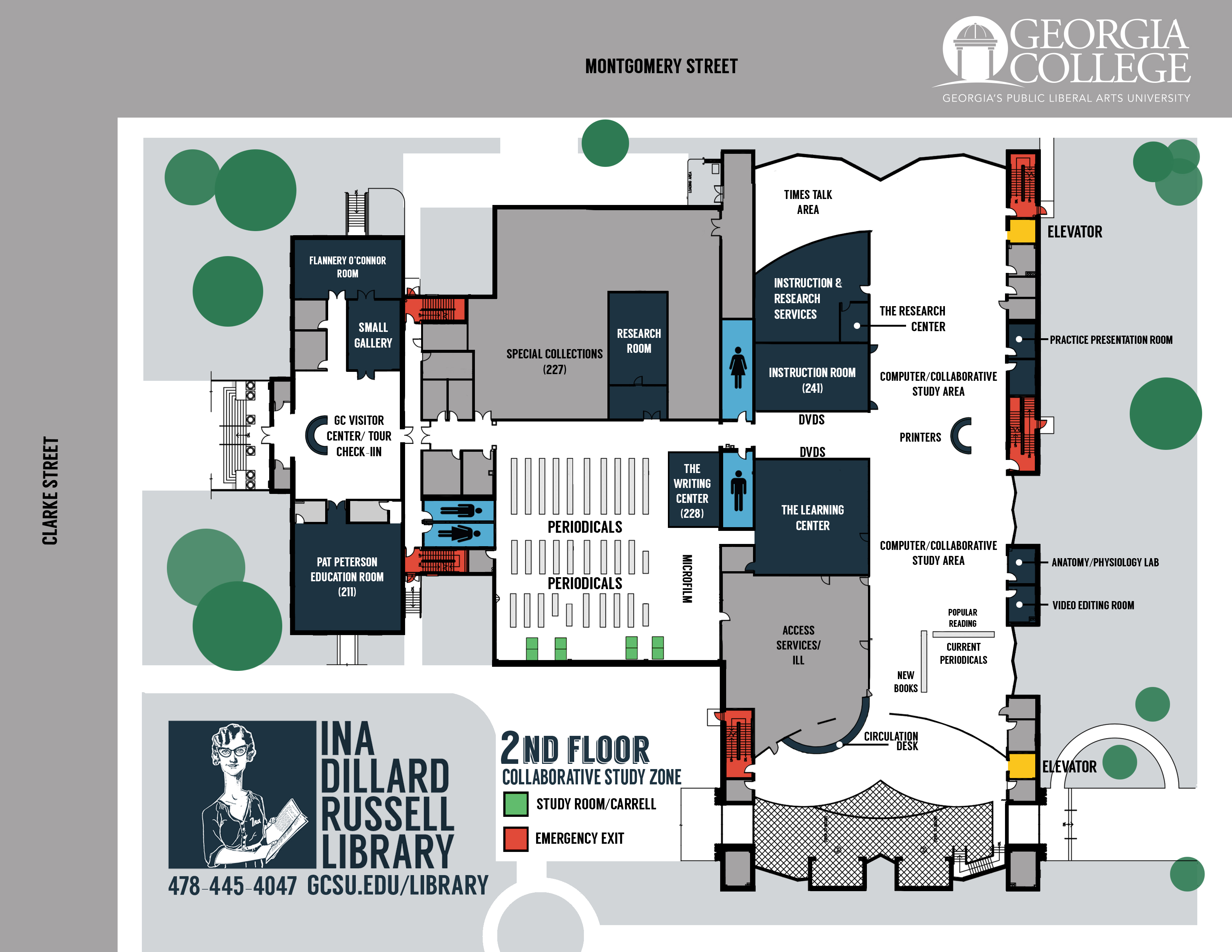 second floor ina dillard russell library maps research