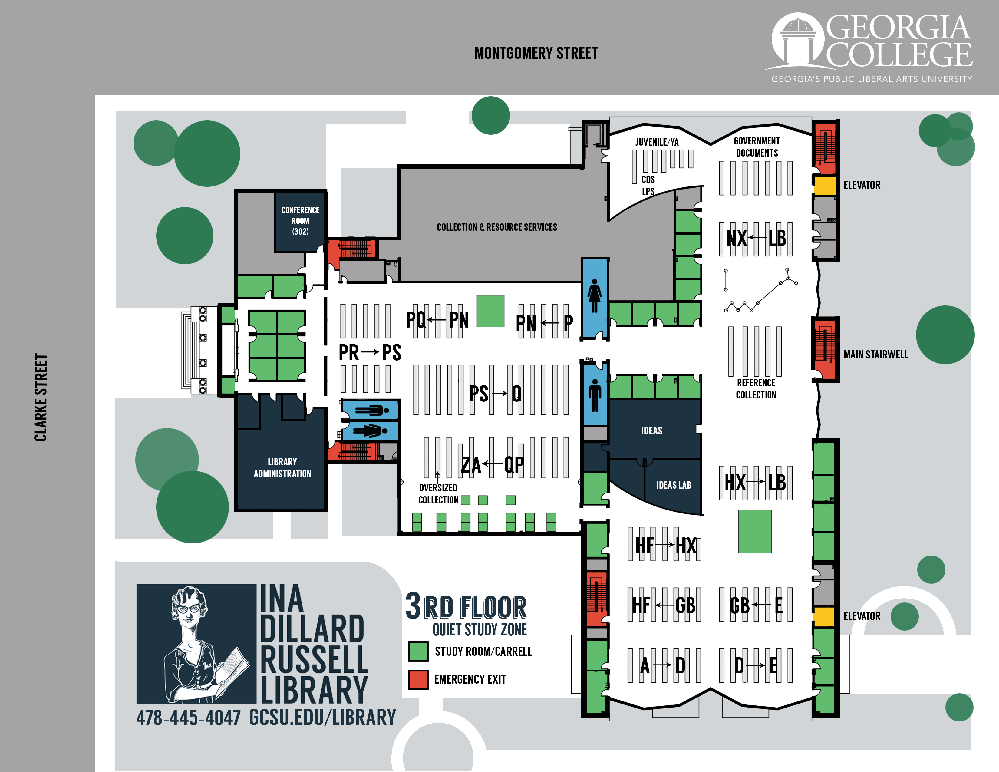 third floor ina dillard russell library maps research guides