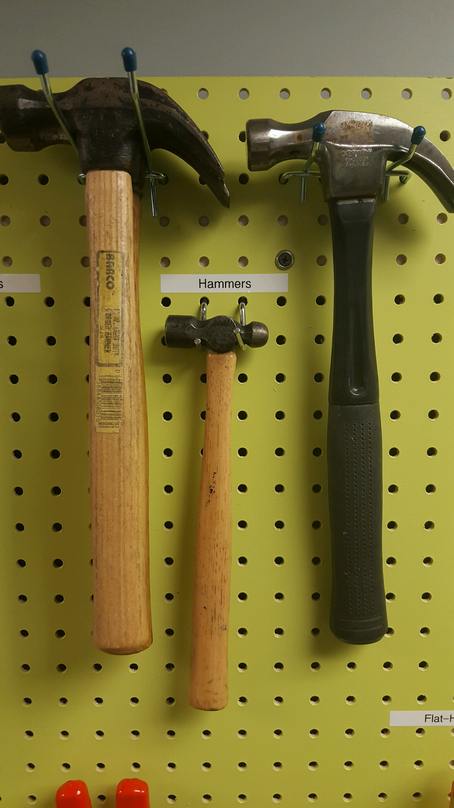 Hammers, varying in sizes.