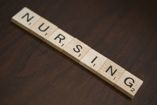 scrabble blocks spelling nursing