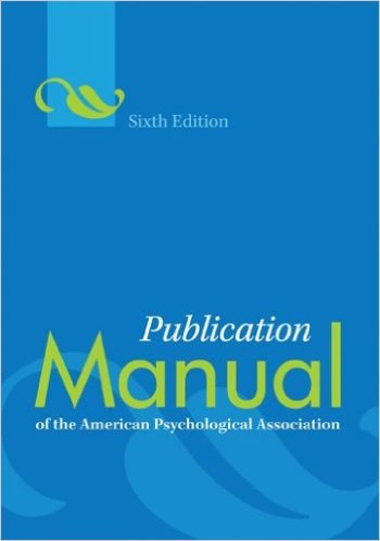 Image of the cover of the book APA Publication Manual sixth edition