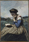 Painting of a girl reading