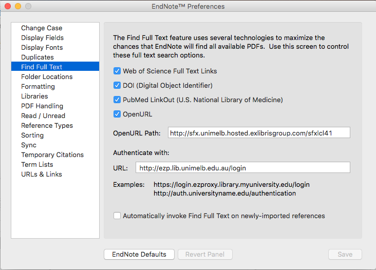 EndNote for Mac Find Full Text Preferences