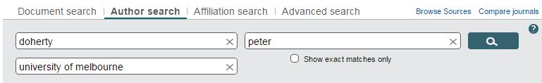 Scopus author search box
