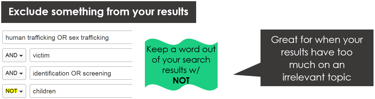 Exclude something from your results with NOT