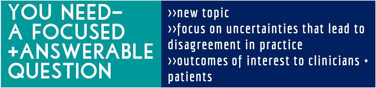 You Need: A focused, answerable question.  is this a new or novel topic does the question focus on uncertainties that underlie disagreement in practice are the outcomes and interventions of interest to patients and clinicians