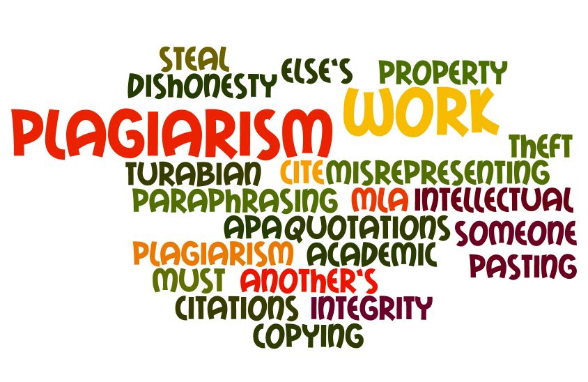"a word map of plagiarism including words such as ""integrity"" and ""copying."""
