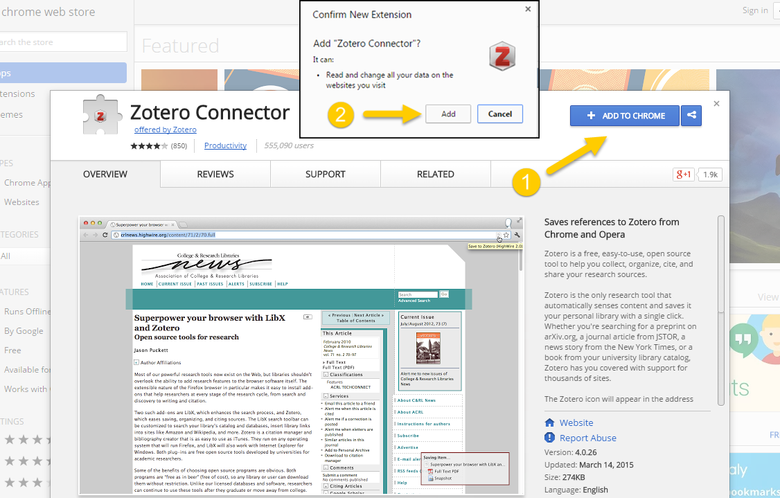 2 Confirm That You Wish To Add The Extension Download And Install Zotero