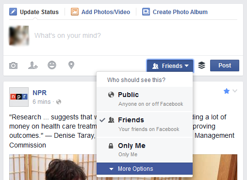 A screenshot of the post sharing options on Facebook