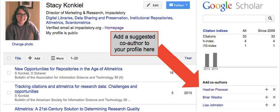 "A screenshot of a Google Scholar profile. An arrow points to the ""Add co-authors"" box and reads ""Add a suggested co-author to your profile here"""