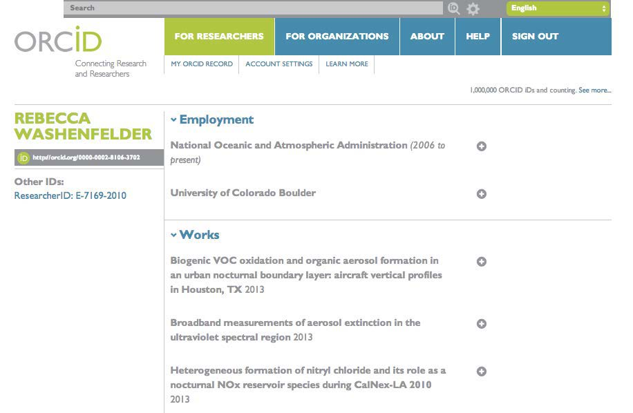 ORCID id site screenshot