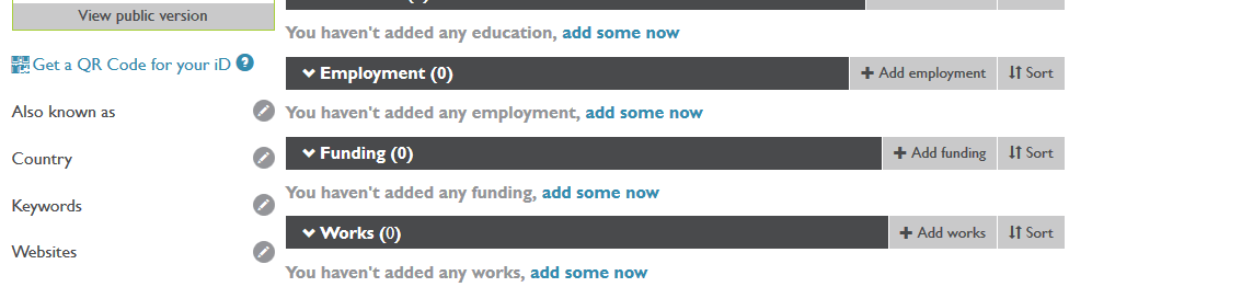 """Works"" section of ORCID id screenshot"