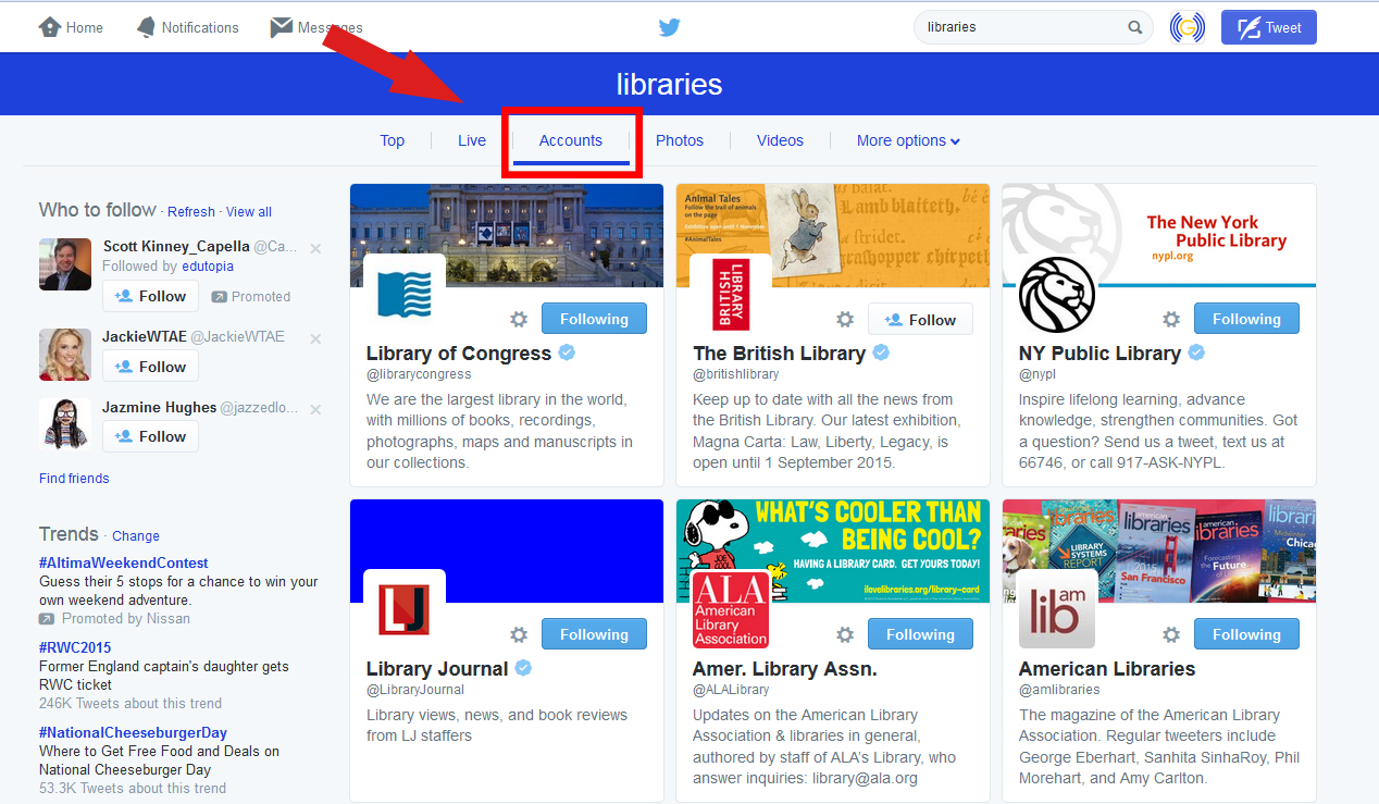"A screenshot of a Twitter search for ""libraries,"" with the Accounts tab outlined"