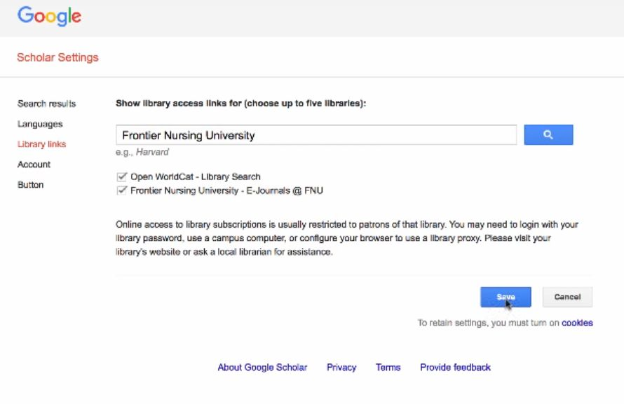 screenshot Google Scholar settings