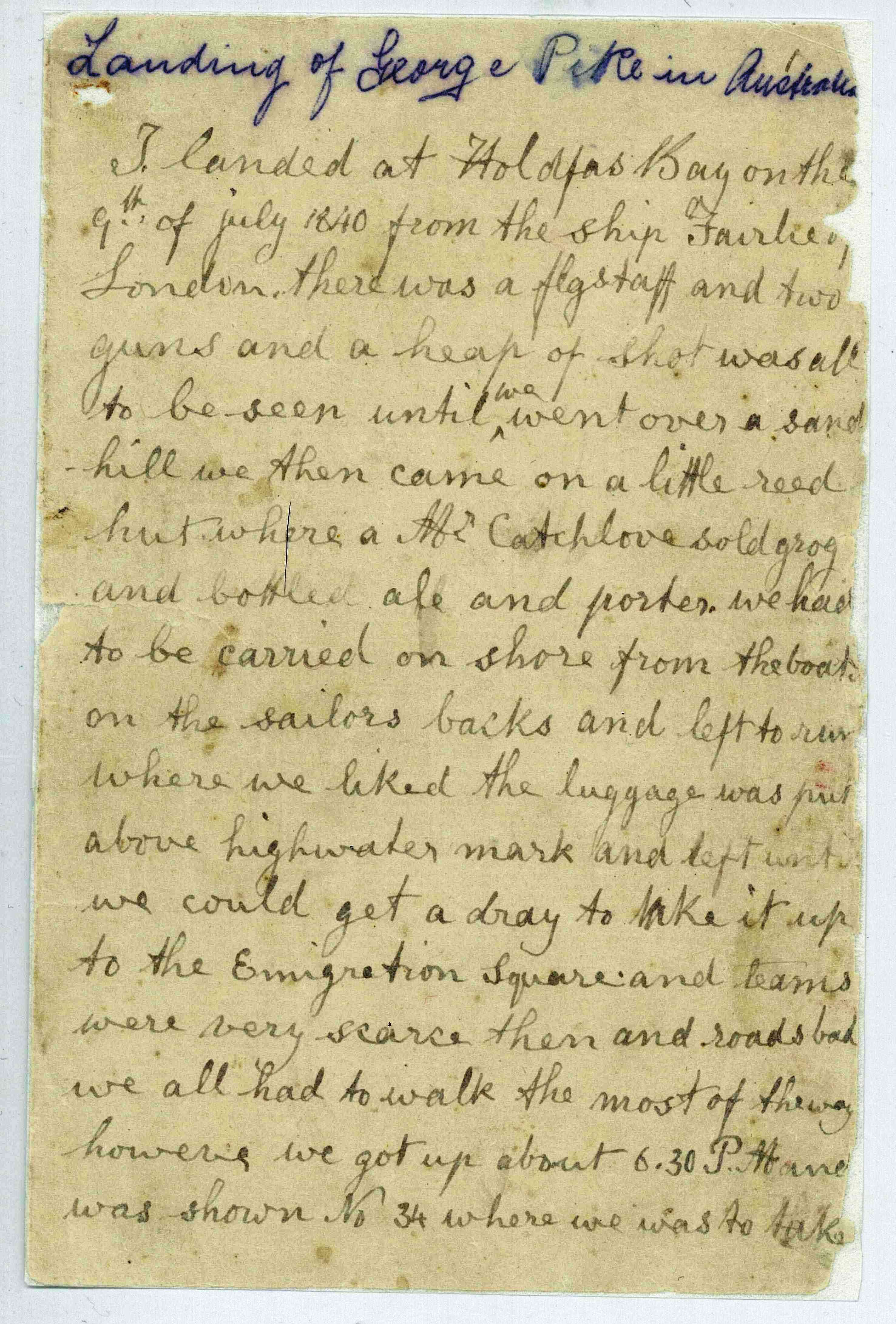 First Page Of 13 Year Old George Pikes Diary His Arrival At Holdfast Bay Glenelg On The Ship Fairlie In 1840 D 6769