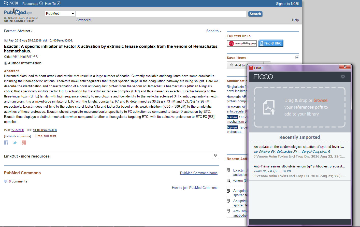 sample pc screen shot fworkspace libguides at university the f1000 desktop application from import references
