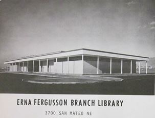 Dedication card for Erna Fergusson Library (original building)