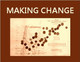 Making Change logo, currency scattered across 1883 plat map of Albuquerque
