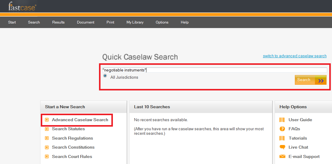 Fast Case Quick Caselaw Search