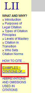 "click on the ""Examples of Citations"" link on the left panel"