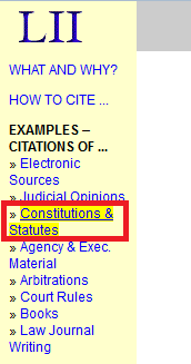 "Click on ""Constitutions and Statutes"" in the left panel on the next page"