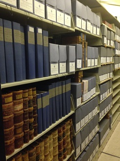 Photo of archives shelves