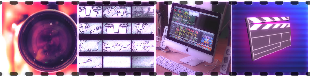 Four banner images described from left to right: camera lens, storyboard, computer screen, and a clapper board.