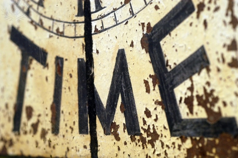 Image of old clock face with Time as superimposed text