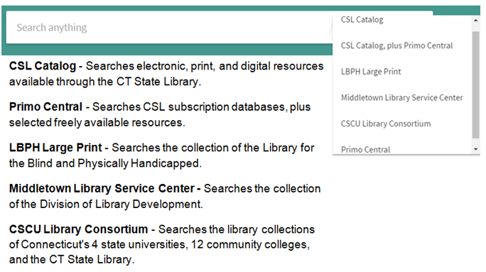 CSL Catalog - Searches electronic, print, and digital resources available through the CT State Library. Primo Central - Searches CSL subscription databases, plus selected freely available resources. LBPH Large Print - Searches the collection of the Library for the Blind and Physically Handicapped. Middletown Library Service Center - Searches the collection of the Division of Library Development. CSCU Library Consortium - Searches the library collections of Connecticut's 4 state universities, 12 community colleges, and the CT State Library.