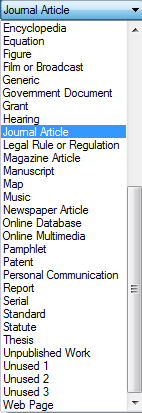Image of EndNote default document type