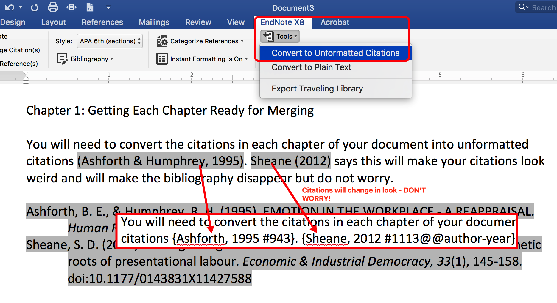 Creating Unformatted Citations in Word with EndNote