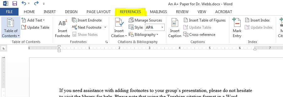 how to create footnotes in word