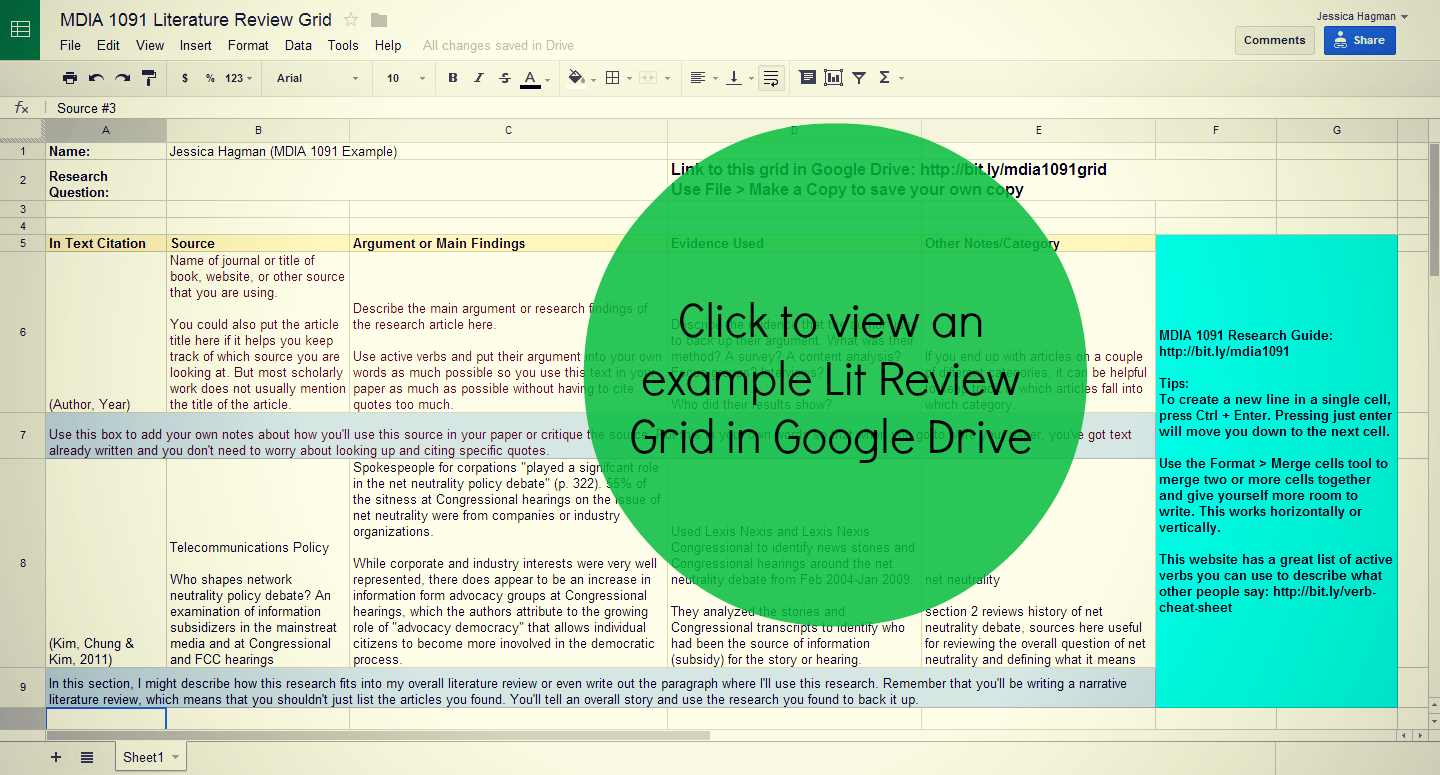 using a literature review grid mdia subject course  mdia 1091 using a literature review grid