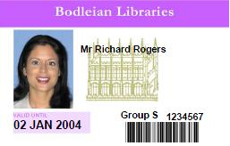 Image of Bodleian Libraries reader card