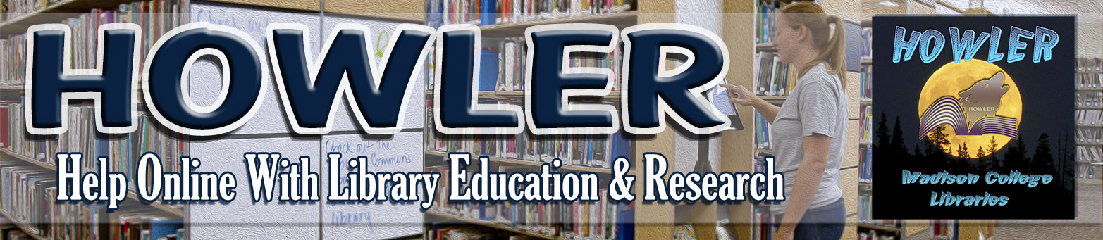 HOWLER banner with image of books and wolf logo