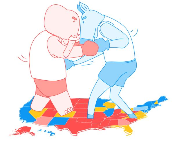 Image: Elephant and Donkey battle it out on electoral college map