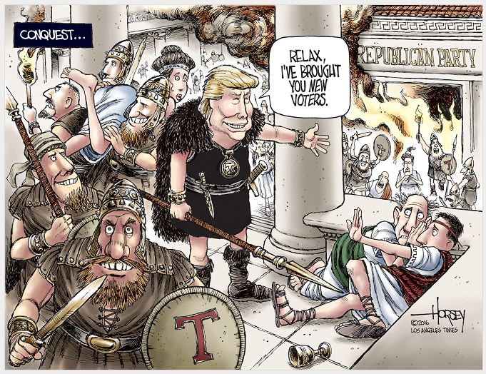 Image: Cartoon of Trump sacking a 'Republican Rome', claiming the damage brings in new voters to GOP