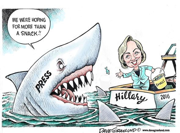 Image: spoof on Jaws. Hillary feeds a tiny 'email' fish to a large shark labeled 'Press'