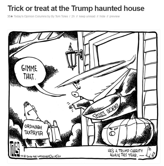 Image: Trump asking a trick or treater (taxpayer) for his candy.