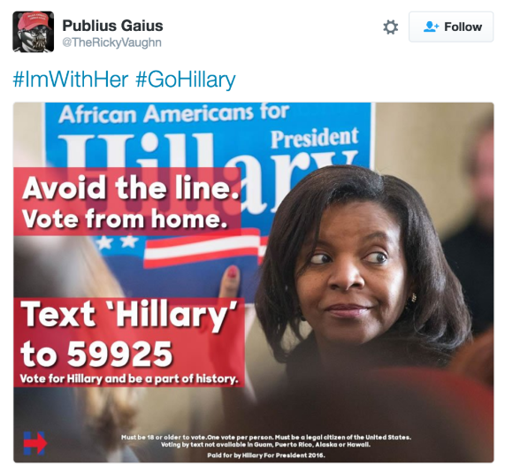 Internet troll tweet falsely stating you can vote by texting.
